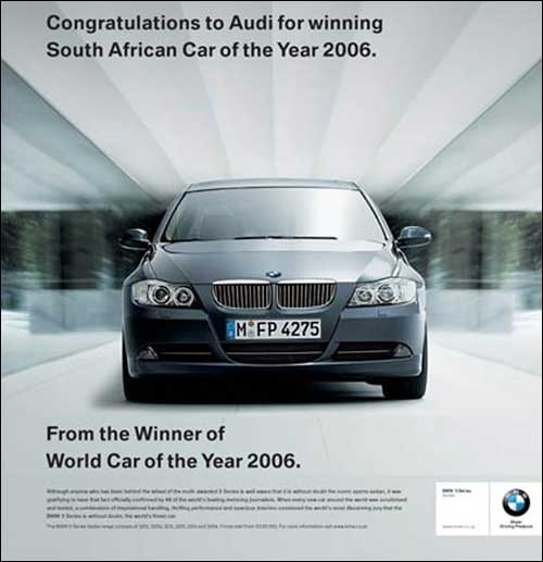 publicite bmw serie 3 E90 voiture de l'annee annee of the year 2007 2008 2009