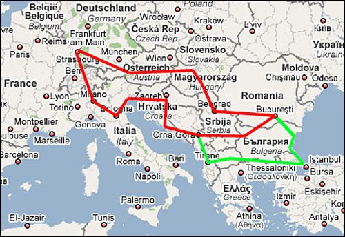 Carte Italie Grece Croatie.Road Trip V2 Blog Note