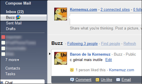 screenshot google buzz gmail kornemuz