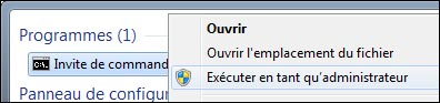 cmd invite de commandes dos executer en tant qu'administrateur screenshot