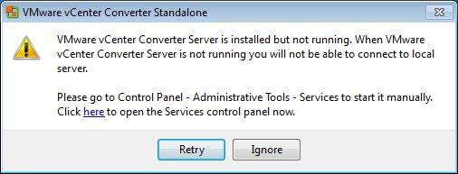 vmware vcenter converter erreur