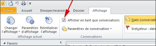 Outlook 2010 activer desactiver option conversation fil discussion  tutoriel