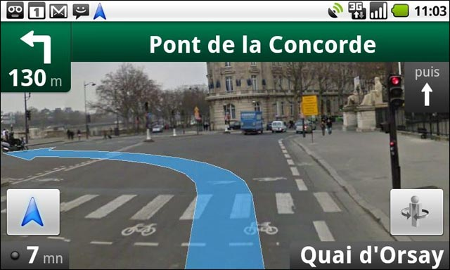 google gps navigation 3D gratuit android screenshot capture ecran