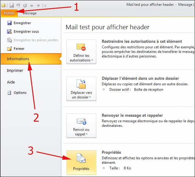 tutoriel procedure afficher en tete header internet message mail outlook 2010