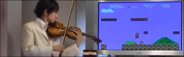 jeu reprise musique violon super mario bros nintendo nes