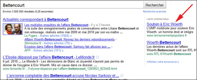 Liliane Bettencourt google adwords UMP