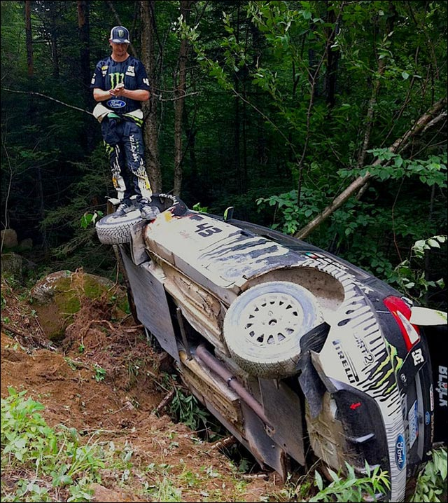 photo ken block crash ford fiesta wrc rallye new england forest rally