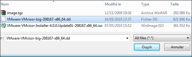 tutoriel installation vmware esxi 4 sur cle usb capture ecran
