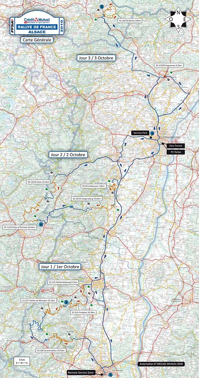 Rallye de France 2010 WRC carte generale globale alsace vosges