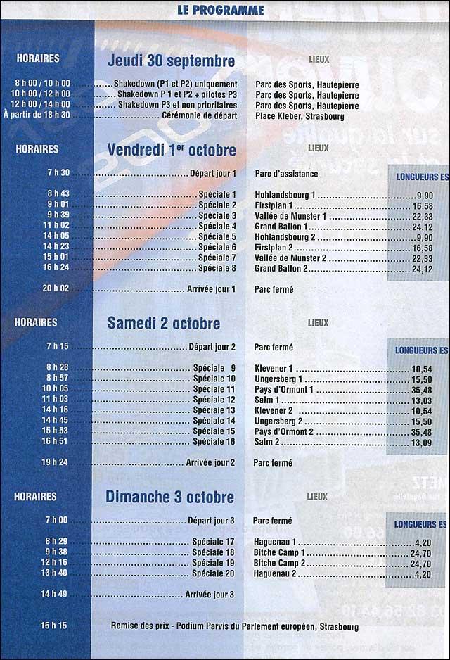 Rallye de France 2010 WRC programme horaire
