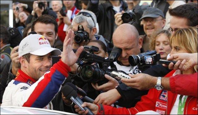 photo arrivee Haguenau Sebastien Loeb champion du monde WRC