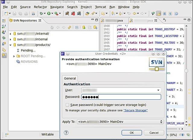 Eclipse SVN bug login erreur de connexion Linux Windows