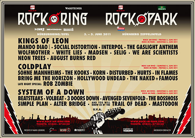 RAR Rock am Ring Rock im Park affiche 2011 programme complet officiel
