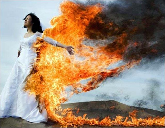 photo de mariage belle robe de mariee flamme photographe pas cher