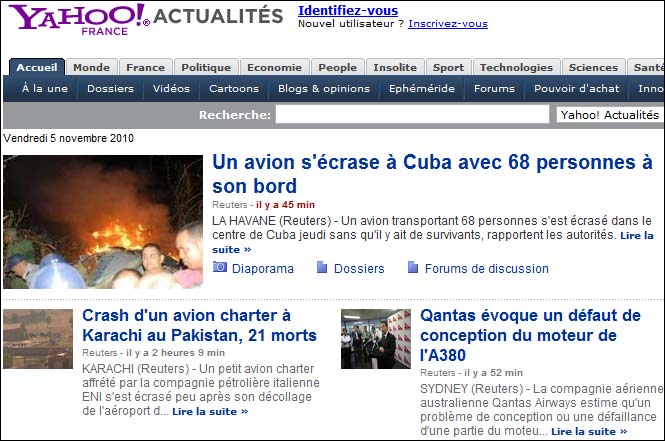 yahoo actualites crash avion vendredi 05 novembre 2010 news