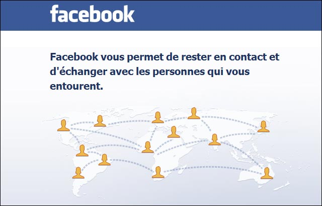 capture ecran page accueil soft Facebook home page carte monde