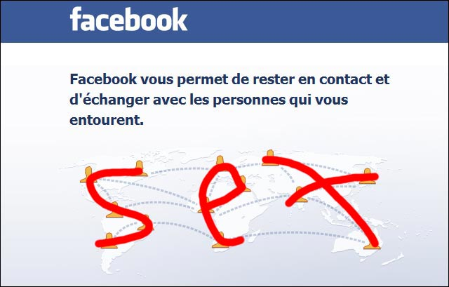 capture ecran page accueil sex sexe Facebook home page carte monde