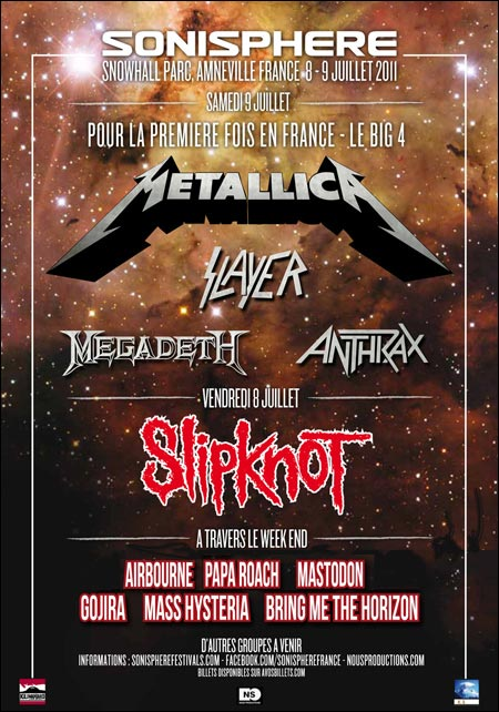Sonisphere France Amneville Metz 2011 Big Four Slipknot concert live