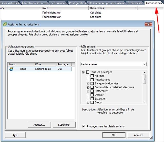 tutoriel gratuit VMware ESX ESXi hypervisor creer group user
