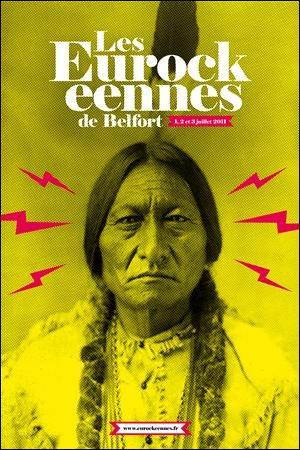 affiche officielle Eurockeennes Belfort 2011 indien sur la route du rock