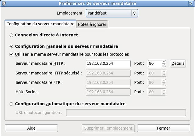 Linux Fedora configurer proxy systeme gnome yum update upgrade