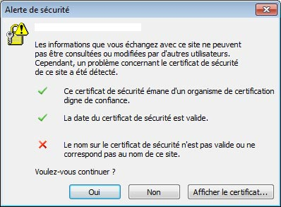 Outlook 2007 2010 certificat SSL erreur securite Microsoft Exchange