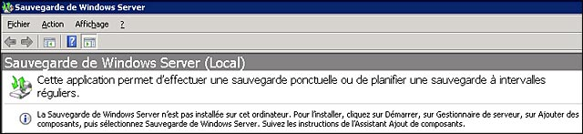 Windows Server Backup 2008 R2 tutoriel francais installation