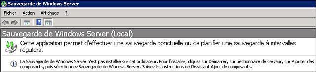 Windows Server Backup 2008 R2 tutoriel francais installation