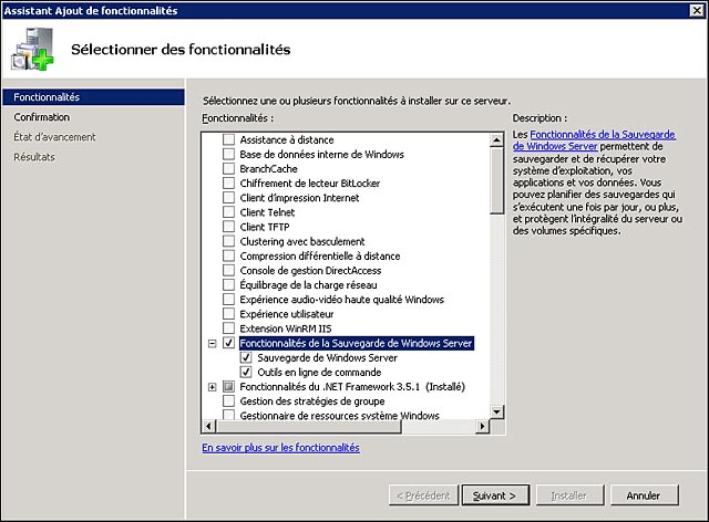 tutoriel installer Windows Server Backup 2008 R2 2012
