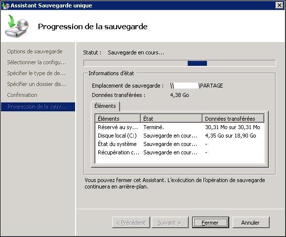 installer configurer parametrer Sauvegarde de Windows Server 2008 R2