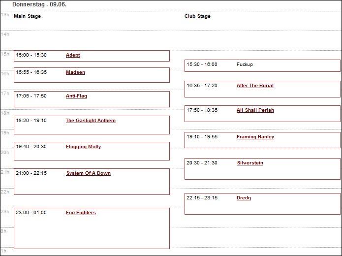 horaires passage groupes musique Greenfield Festival 2011 Interlaken Suisse