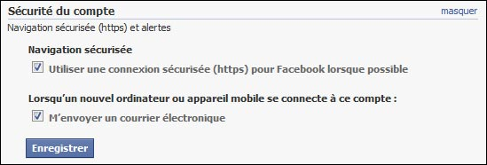 proteger securiser compte Facebook SSL TLS HTTPS
