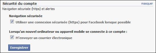 proteger securiser compte Facebook SSL TLS HTTPS