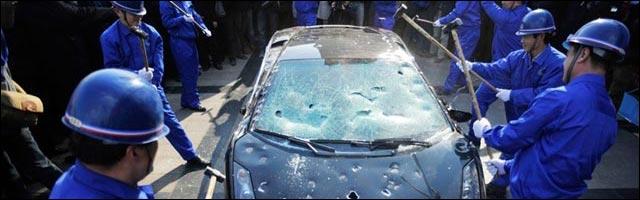 Lamborghini Gallardo L140 photo detruite Chine casse massacre