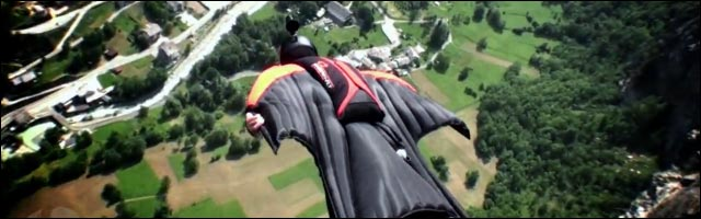 basejump wingsuit fly like a bird video HD camera skydiving