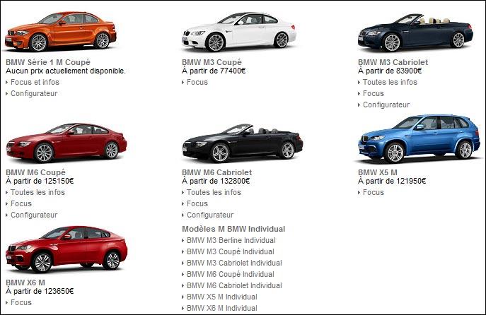 BMW Motorsport gamme 2011 serie 1M M3 M5 M6 Z4M X5M X6M M1
