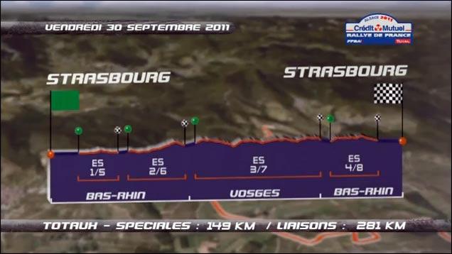 video hd Rallye de France 2011 WRC tracer itineraire route parcours jour 1