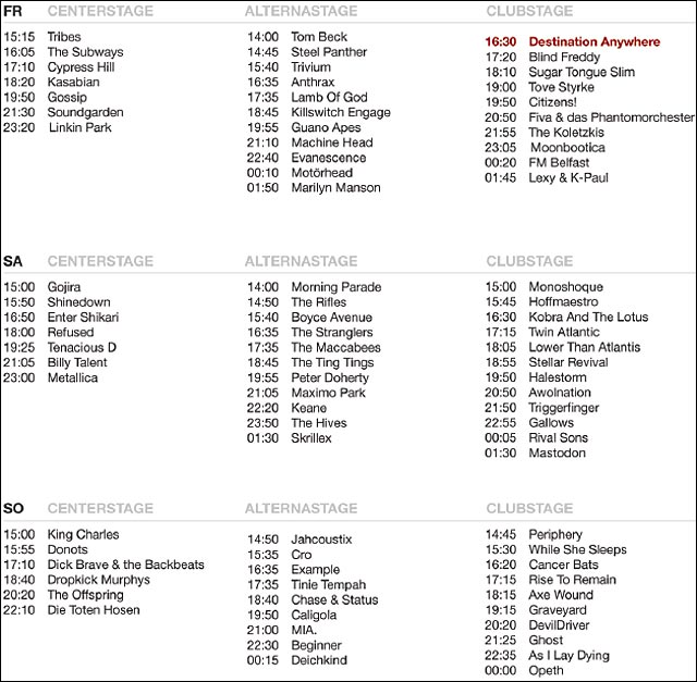 RAR Rock am Ring 2012 spielplan running order ordre de passage groupes zik