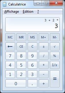 logiciel Calculatrice Windows erreur de calcul ordre des operations explication bug