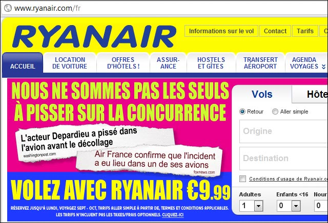 Ryan Air publicite buzz actu Gerard Depardieu pisse devant public avion Air France