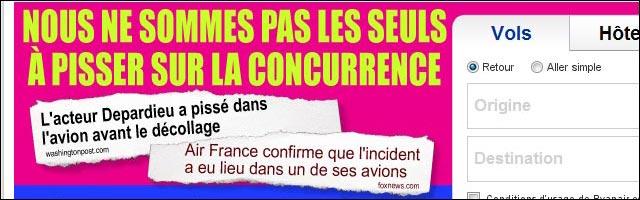 Ryanair publicite buzz actu Gerard Depardieu pisse devant public avion Air France