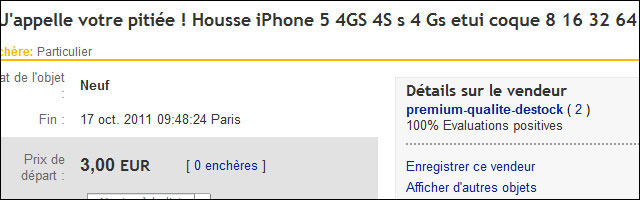 annonce ebay vente coque housse iPhone 5 imaginaire fake pas cher