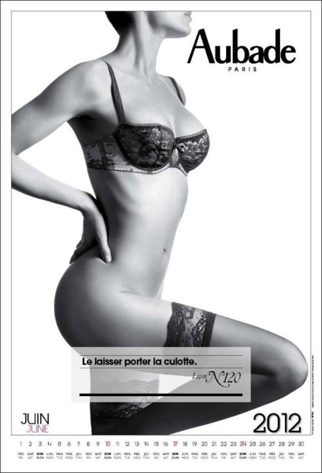 photo hd calendrier Aubade 2012 couverture lingerie fine soutien gorge sexy