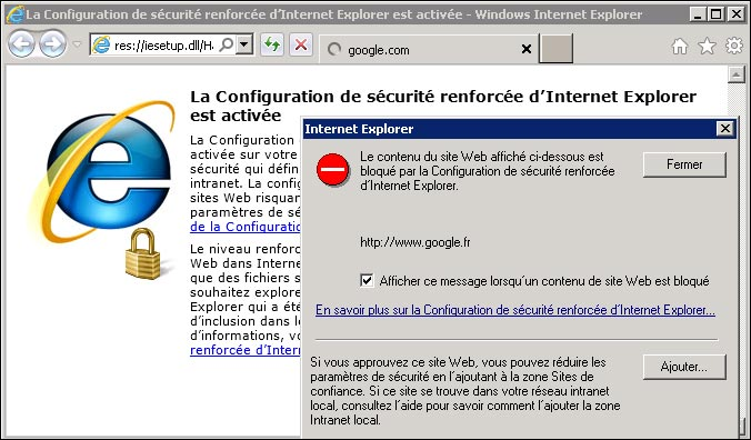 securite renforcee IE Internet Explorer sur Windows Server 2003 2008 R2
