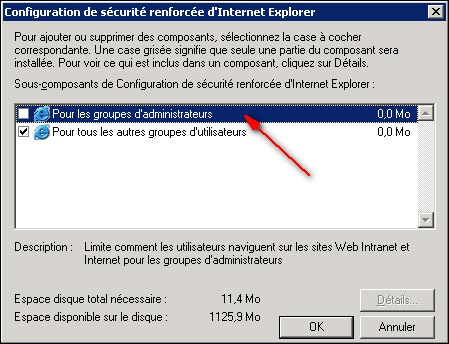 securite renforcee IE Internet Explorer sur Windows Server 2003 et R2 SP1 SP2
