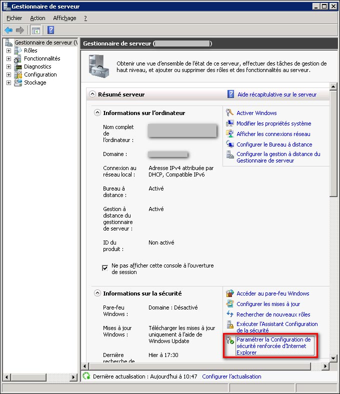 IE configurer et desactiver securite renforcee Interner Explorer Windows Server 2008 R2