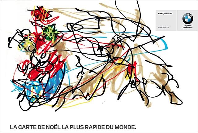 BMW carte de voeux Noel presentation serie 5 M5 gribouillis dessin circuit