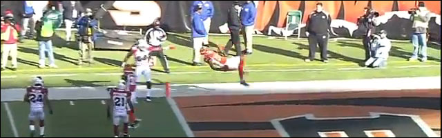 video hd frontflip salto avant marquer touchdown Jerome Simpson foot US