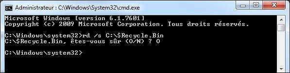 vider corbeille Windows plusieurs utilisateurs login commande msdos cmd