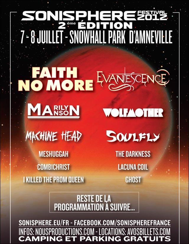affiche programme officiel Sonisphere Festival France 2012 Metz Amneville